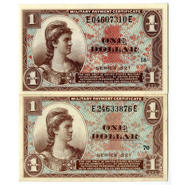 U.S. Military Payment Certificate, 1958, Series 521 Issue Banknote Pair.