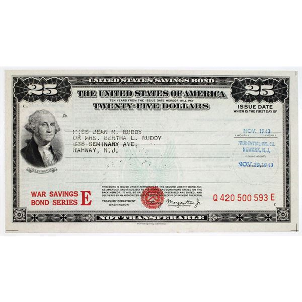 United States War Savings Bond, 1943 $25 Series E Bond