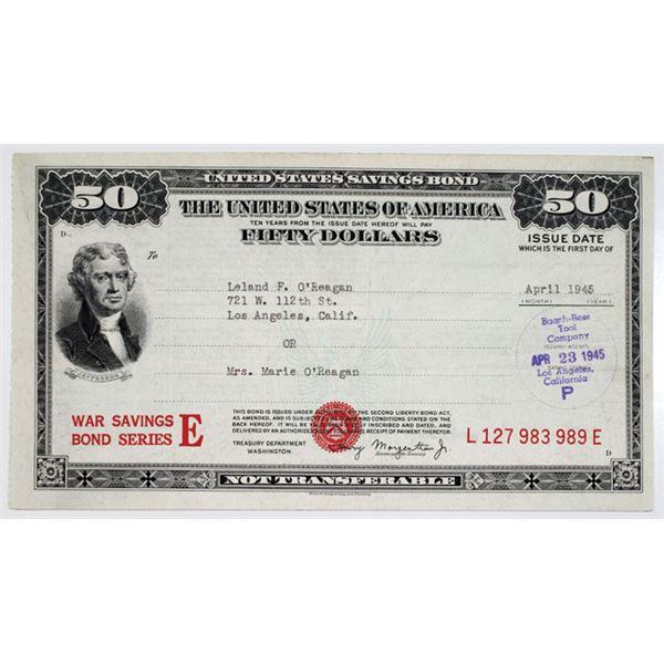 United States War Savings Bond, 1945 $50 Series E Bond Issue