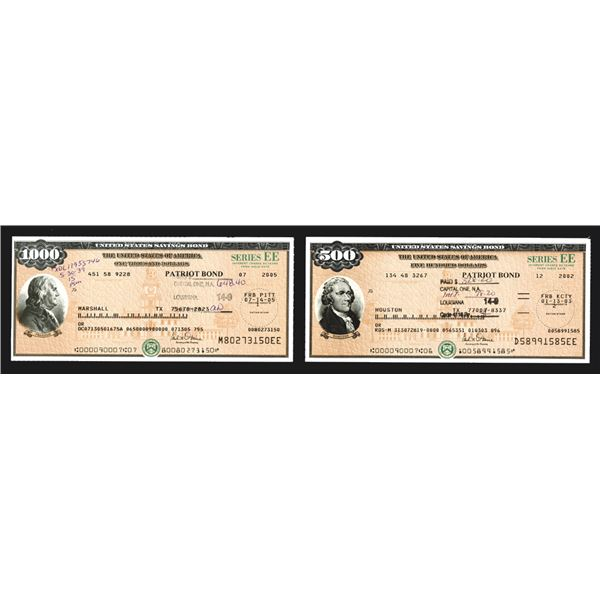 "U.S. Savings Bond, Series EE ""Patriot Bonds"", ca. 2002-2005 Bond Pair Signed by the Secretary of the"