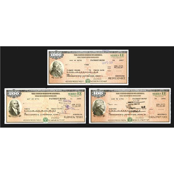 "U.S. Savings Bond, Series EE ""Patriot Bonds"", ca. 2005-2007 Bond Trio Signed by the Secretary of the"