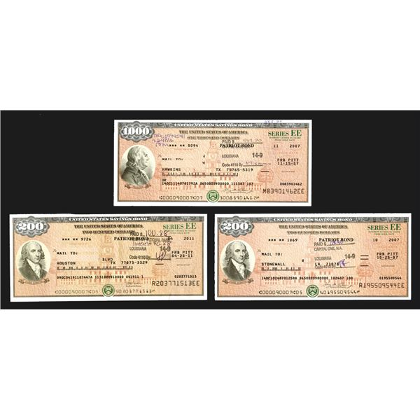 "U.S. Savings Bond, Series EE ""Patriot Bonds"", ca. 2007-2011 Bond Trio Signed by the Secretary of the"