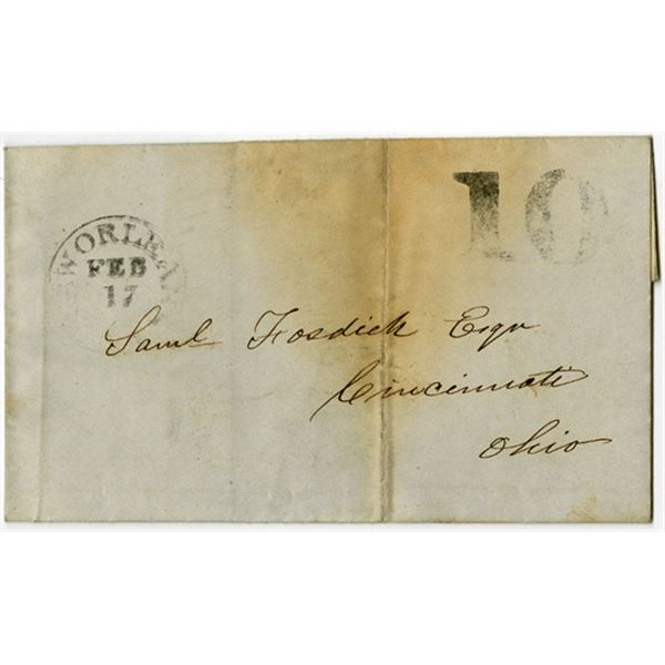New Orleans, Louisiana 1847 Stampless Cover