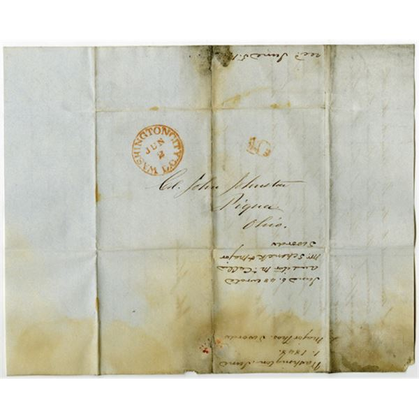 Washington, D.C. June 2, 1848 Stampless Cover with Letter