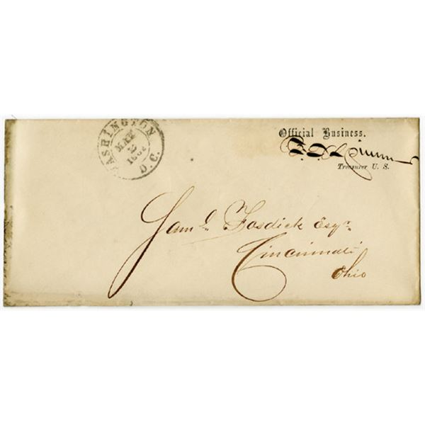 Francis E. Spinner Autograph Cover on 1862 Treasury Department Official Business Envelope