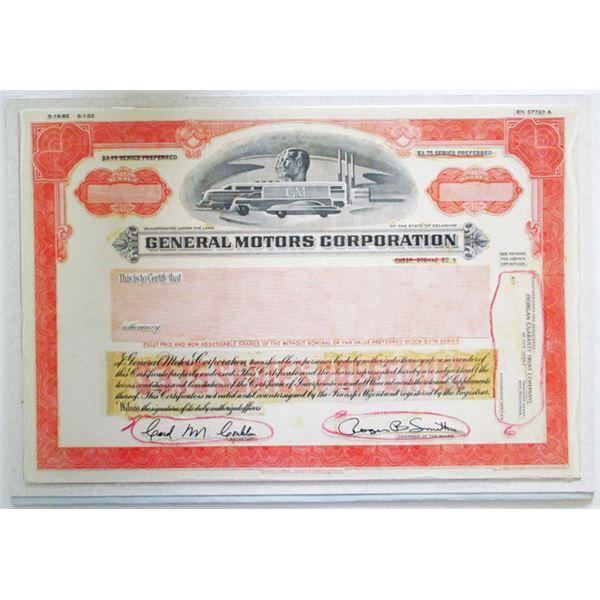 General Motors Corp. 1982 Unique Proof Mock-Up Stock Certificate
