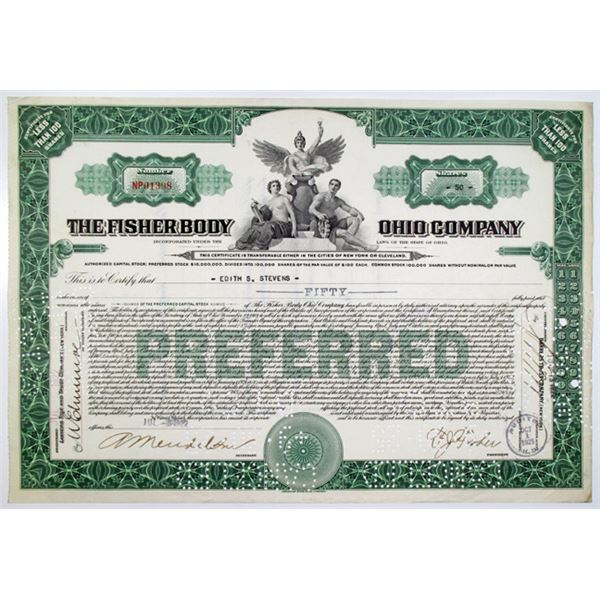 Fisher Body Ohio Co. 1922 I/C Stock Certificate, Acquired by General Motors