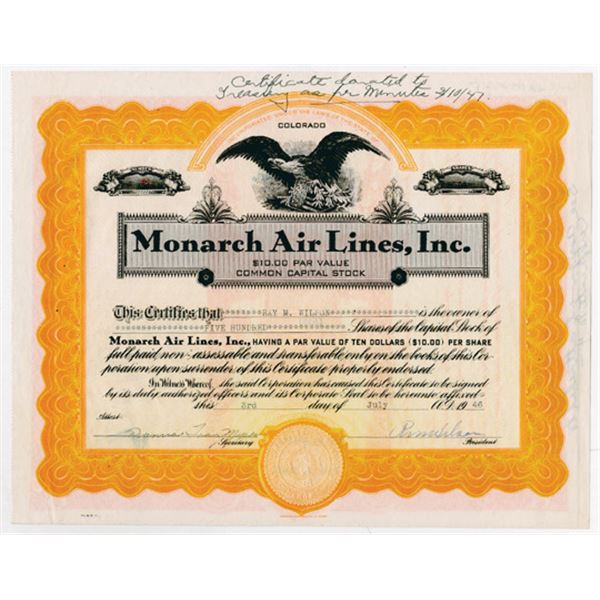 Monarch Air Lines, Inc., 1946 Issued Stock Certificate