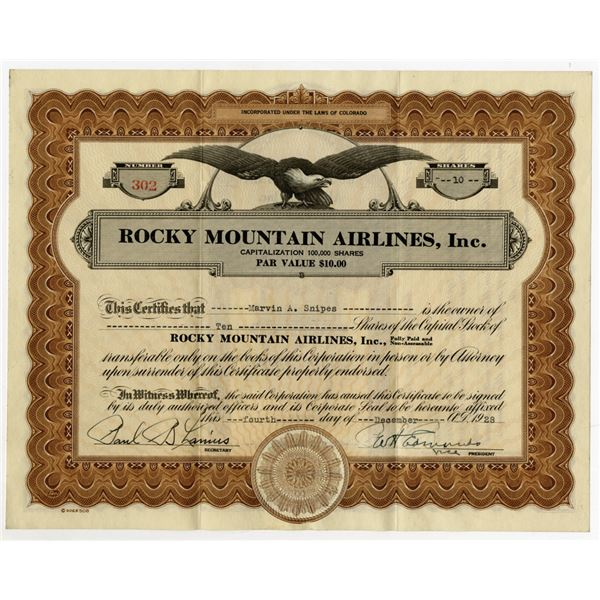 Rocky Mountain Airlines, Inc., 1928 I/U stock Certificate.