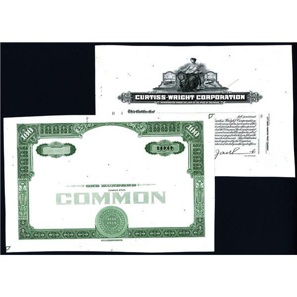 Curtiss-Wright Corporation., ca.1920-30's Progress Proof Stock Certificate.