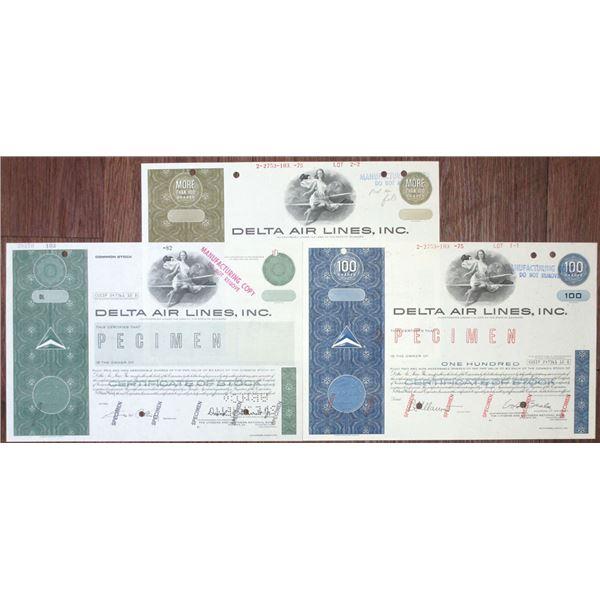 Delta Air Lines, Inc. Specimen Stock Certificate Trio, ca. 1975-1982