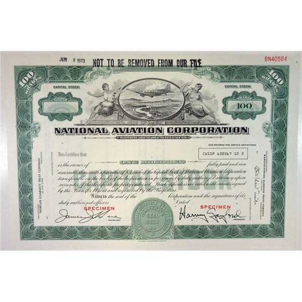 National Aviation Corp., 1970 Specimen Stock Certificate.