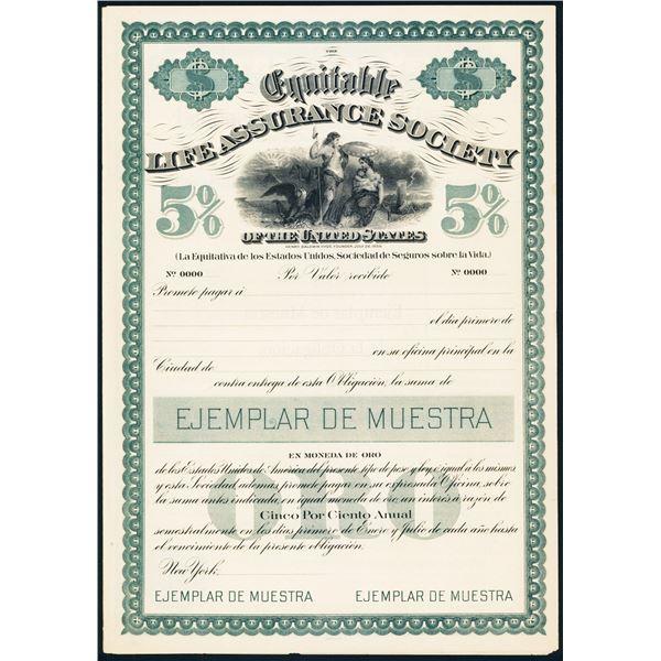 Equitable Life Assurance Society Spanish Version Specimen Bond.