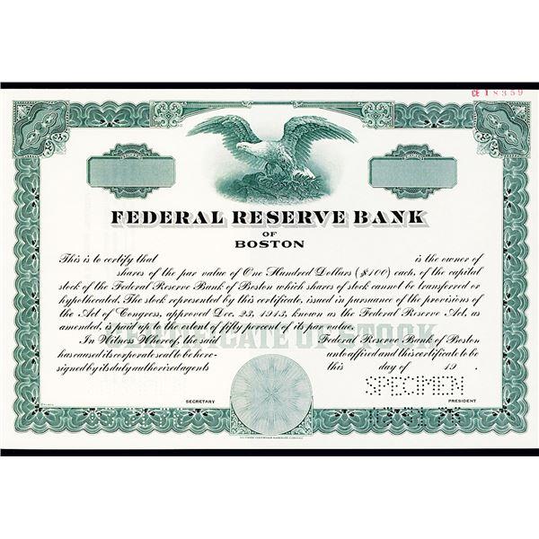 Federal Reserve Bank of Boston, 1940-60's Specimen Stock Certificate.