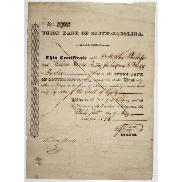 Union Bank of South Carolina 1828 I/C Stock Certificate