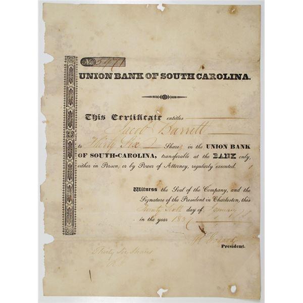 Union Bank of South Carolina 1837 I/U Stock Certificate
