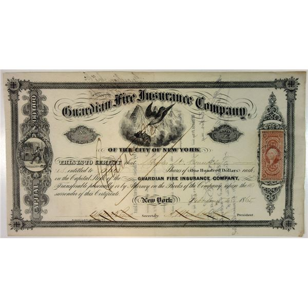 Guardian Fire Insurance Company of the City of New York, 1865 issued Stock Certificate.