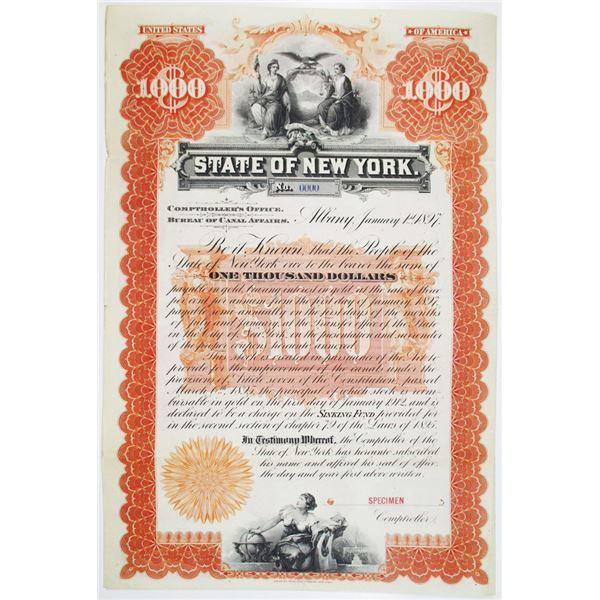 State of New York, Bureau of Canal Affairs, 1895 Specimen Bond