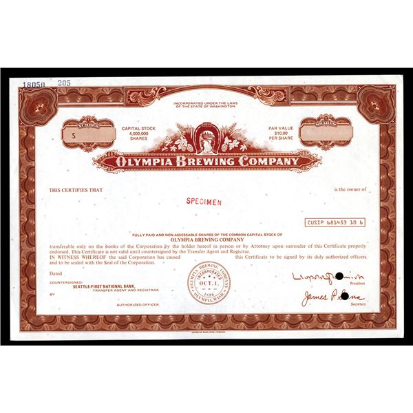 Olympia Brewing Co., ND (1970-80's) Specimen Stock Certificate