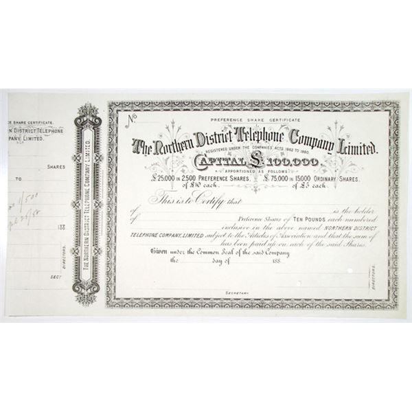 Northern District Telephone Co. Ltd., 1882 Specimen Stock Certificate