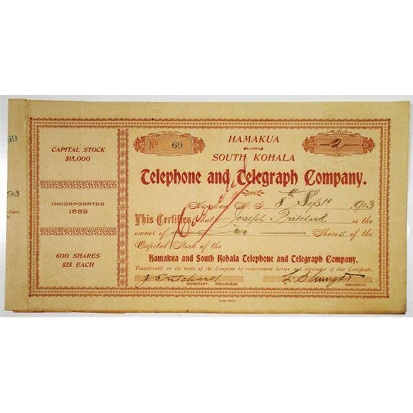 Hamakua and South Kohala Telephone and Telegraph Co. 1913 I/C  Stock Certificate