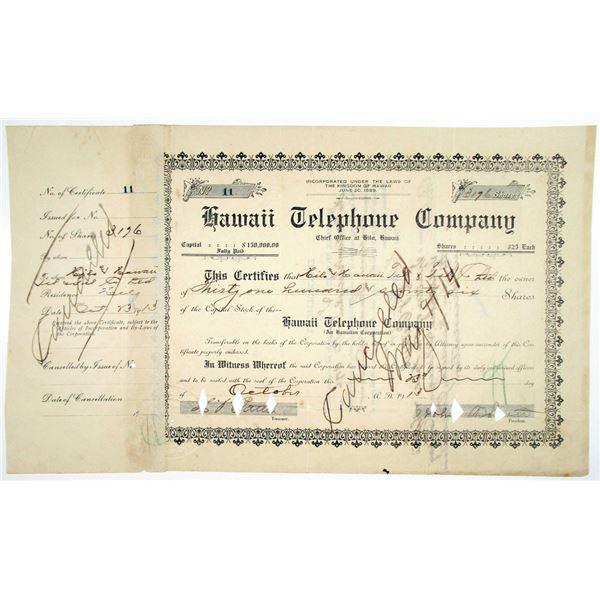 Hawaii Telephone Co. 1913 Stock Certificate