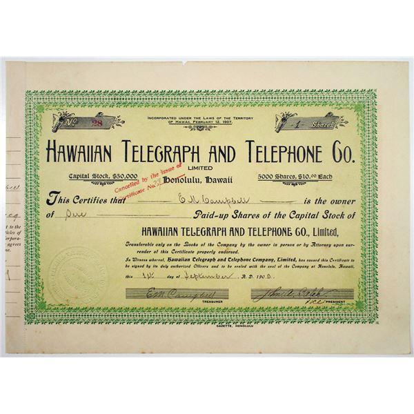 Hawaiian Telegraph and Telephone Co. Ltd. 1909 Stock Certificate