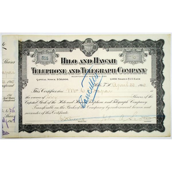 Hilo and Hawaii Telephone and Telegraph Co. 1912 I/C Stock Certificate