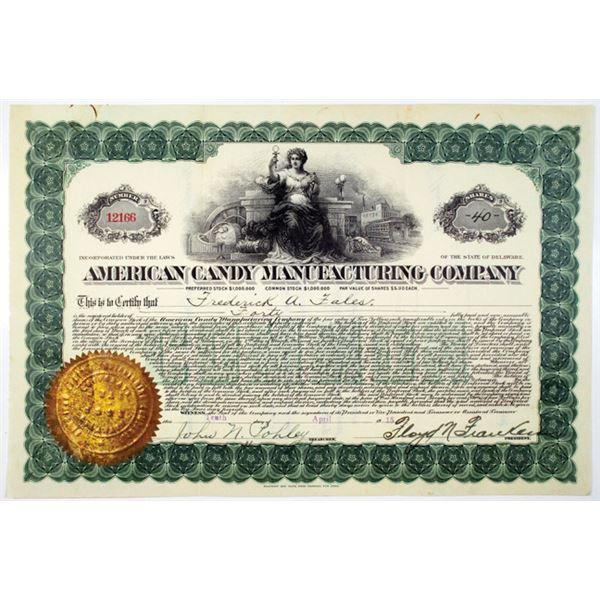 American Candy Manufacturing Co. 1915 I/U Stock Certificate