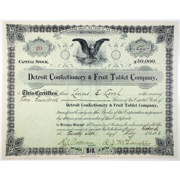 Detroit Confectionery & Fruit Tablet Co. 1892 I/U Stock Certificate
