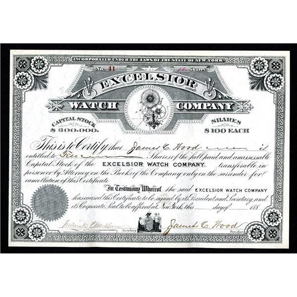 Excelsior Watch Co. 1880's Issued but Undated Stock Certificate.
