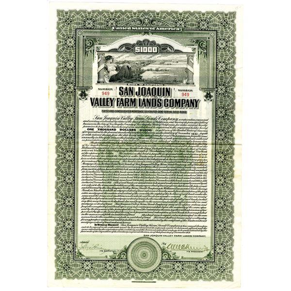 San Joaquin Valley Farm Lands Co. 1921 I/U Bond