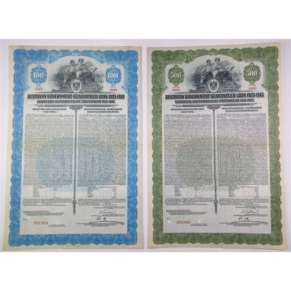 Austrian Government 1923 Pair of Specimen Bonds