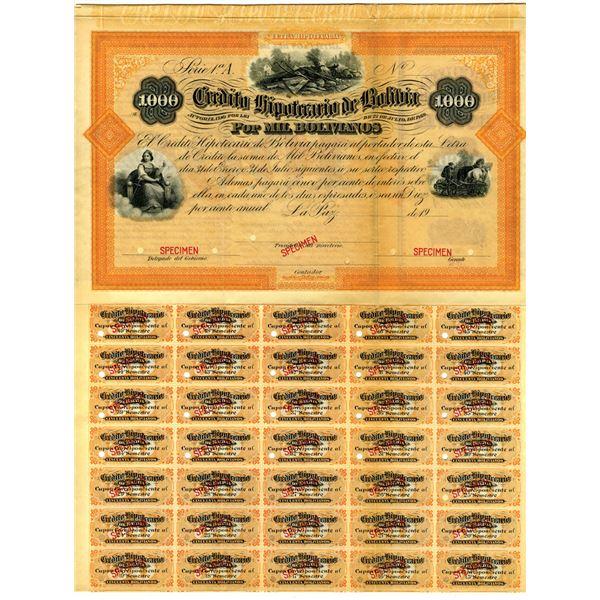 "Credito Hipotecario De Bolivia, ""Lei de 22 de Julio de 1869"" Issue  Specimen Bond."