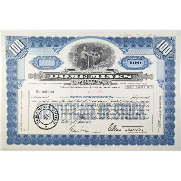 Dome Mines Ltd. 1977 Specimen Stock Certificate