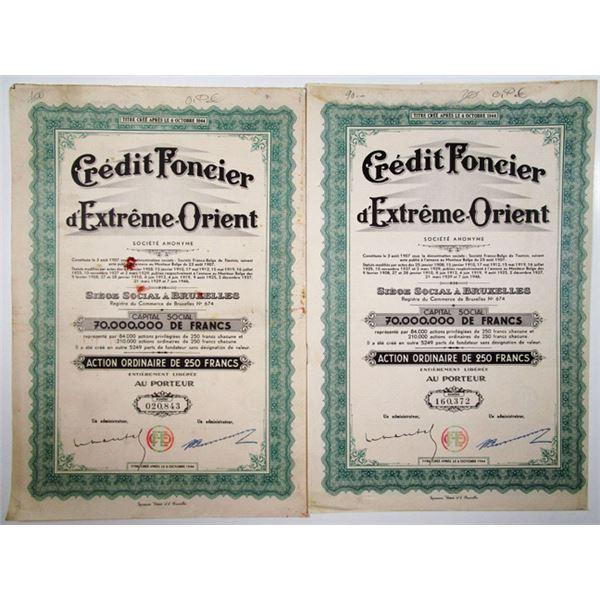 "Credit Foncier d'Extreme Orient, 1944 ""Tientsin, China"" Issue Bond Pair."