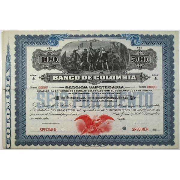 Banco de Colombia, 1905 Specimen Circulating Bond/Banknote