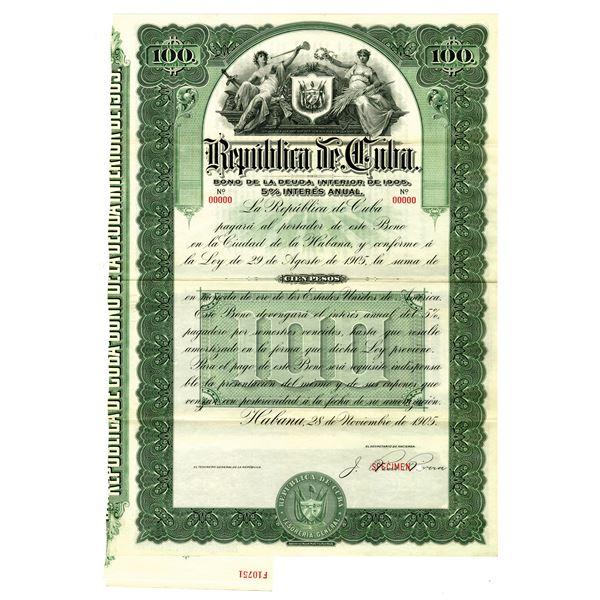 Republic of Cuba, 1905 Specimen Bond