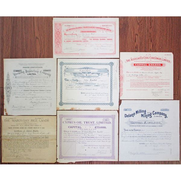 English Mining and Land Company Stock Certificate Assortment, ca.1899-1930