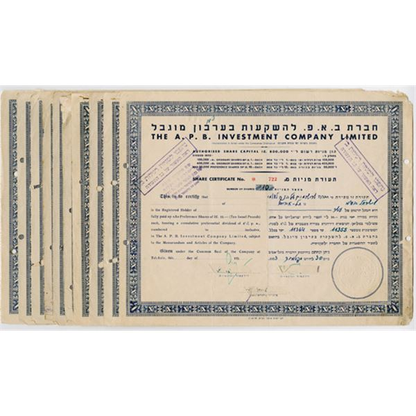 A.P.B. Investment Co. Ltd., 1945-1953 Group of 11 Cancelled Share Certificates.