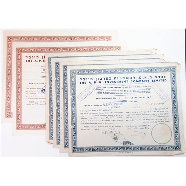 Group of A.P.B. Investment Co. Ltd., ca.1945-1954 Cancelled Stock Certificate Group of 8.