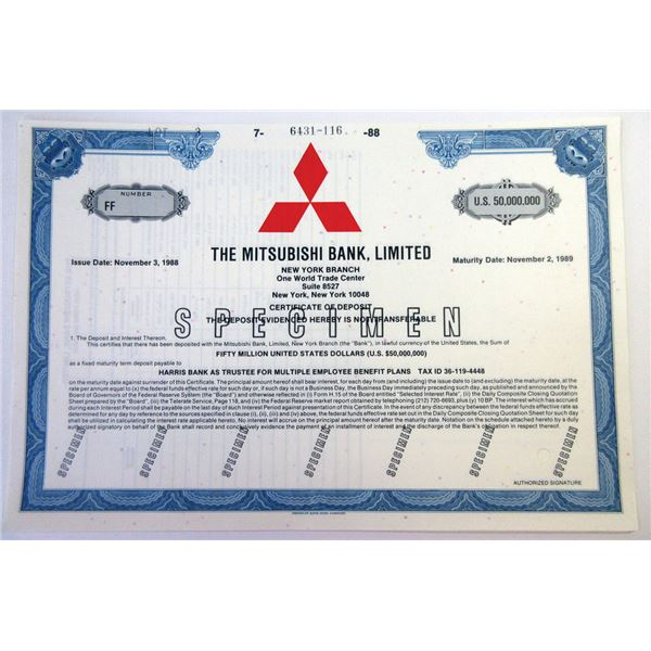 Japan. Mitsubishi Bank, Ltd., 1988 $50,000,000 Specimen Bond, XF ABNC