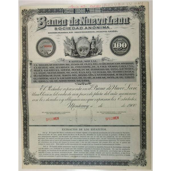 Banco de Nuevo Leon Sociedad Anonima, 1900 Specimen Bond