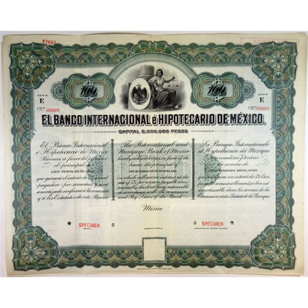 Banco Internacional e Hipotecario De Mexico, ca.1900-1910 Specimen Bond.