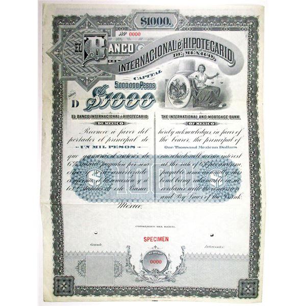 Banco Internacional e Hipotecario, De Mexico, Series D, 1905 Specimen Bond