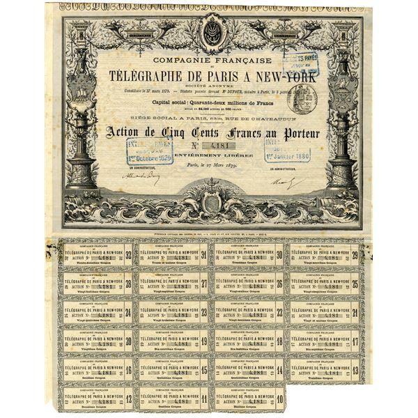 Telegraphe De Paris A New-York 1879 Issued Bond.