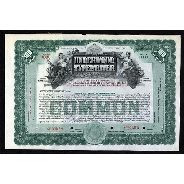 Underwood Typewriter Co., 1910-1919 Specimen Stock Certificate.