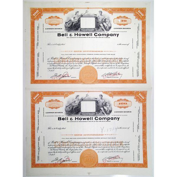 Bell & Howell Co., ca. 1950-60's Uncut Specimen Stock Certificate Pair