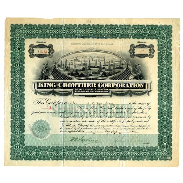 King-Crowther Corp., 1909 I/U Stock Certificate