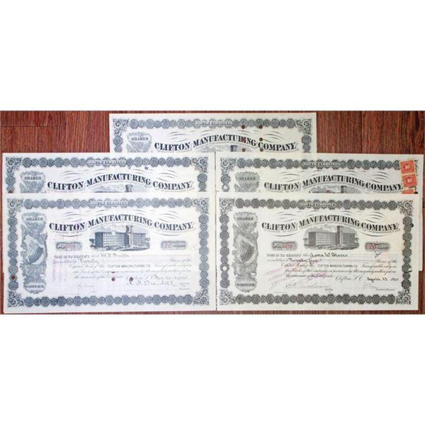 Clifton Manufacturing Co. I/C Stock Certificate Quintet, ca. 1907-23